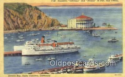 shi009639 - Steamers Catalina And Avalon, Avalon Bay, Santa Catalina, California, CA USA Steam Ship Postcard Post Cards
