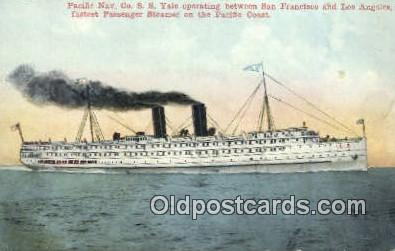 shi009642 - Pacific Navy Company SS Yale, San Francisco, California, CA USA Steam Ship Postcard Post Cards
