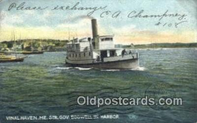 shi009670 - Steamer, Governor Dodwell Harbor, Vinal Haven, Maine, ME USA Steam Ship Postcard Post Cards