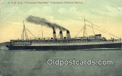 shi009767 - CPR SS Princess Charlotte, Vancouver, British Columbia, BC Steam Ship Postcard Post Cards