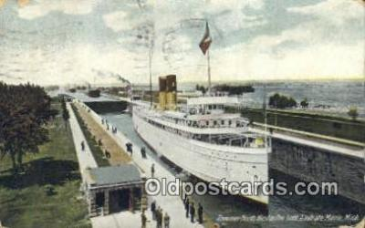 shi009776 - Steamer North West in Poe Lock, Sault Ste Marie, Michigan, MI USA Steam Ship Postcard Post Card