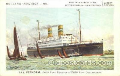 shi010077 - TSS Veendam Holland - America Line, Steamer, Steam Boat, Ship Ships, Postcard Postcards