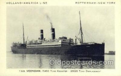 shi010078 - TSS Veendam Holland - America Line, Steamer, Steam Boat, Ship Ships, Postcard Postcards