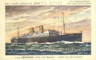 shi010108 - TSS Veendam Holland - America Line, Steamer, Steam Boat, Ship Ships, Postcard Postcards