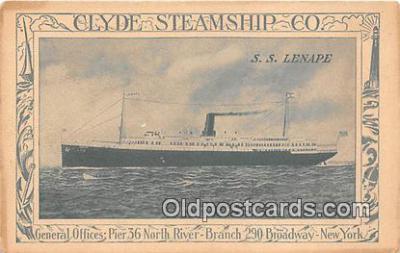 shi012022 - SS Lenape Clyde Steamship Co, New York USA Ship Postcard Post Card