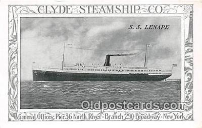 shi012023 - SS Lenape Clyde Steamship Co, New York USA Ship Postcard Post Card