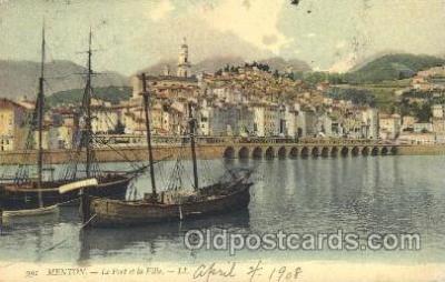 shi020071 - Menton, Le Port et la ville, LL. Sail Boat, Boats Postcard Postcards
