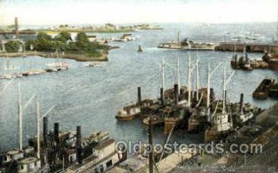 shi020112 - Bridgeport Conn, USA Harbor Sail Boat, Boats, Postcard Postcards