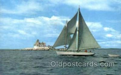 shi020118 - Cuckold's light boothbay, Maine, USA Sail Boat, Boats, Postcard Postcards