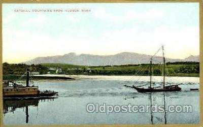 shi020128 - Catskill Mountain, Hudson River, New York, USA Sail Boat, Boats, Postcard Postcards