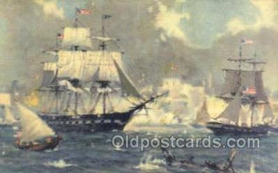 shi020145 - USF Constitution In Harbor of Tripoli 1803 Sail Boats, Sailing, Ship Postcard Postcards