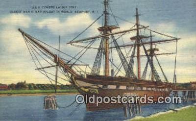 shi020251 - USS Constellation, Newport, Rhode Island, RI USA Sail Boat Postcard Post Card