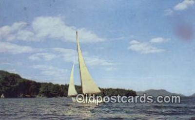 shi020265 - Sailing On Lake George, Lake George, New York, NY  USA Sail Boat Postcard Post Card