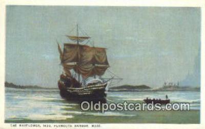 shi020266 - The Mayflower, Plymouth Harbor, Massachusetts, MA USA Sail Boat Postcard Post Card