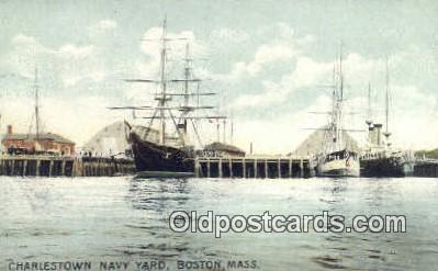 shi020280 - Charlestown Navy Yard, Boston, Massachusetts, MA USA Sail Boat Postcard Post Card