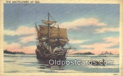 shi020297 - The Mayflower, Plymouth Harbor, Massachusetts, MA USA Sail Boat Postcard Post Card