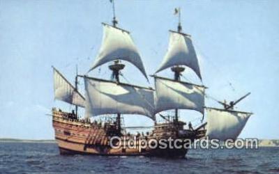 shi020299 - The Mayflower II, Plymouth, Massachusetts, MA USA Sail Boat Postcard Post Card