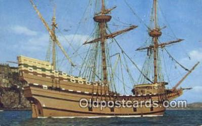 shi020304 - The Mayflower II, Plymouth, Massachusetts, MA USA Sail Boat Postcard Post Card