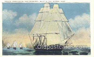 shi020322 - Frigate Constitution Old Ironsides,, Boston, Massachusetts, MA USA Sail Boat Postcard Post Card