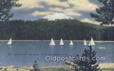 shi020345 - Elk Lake And Mountain, Oregon, OR USA Sail Boat Postcard Post Card