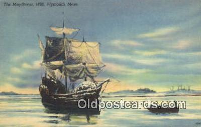 shi020361 - The Mayflower 1620, Plymouth, Massachusetts, MA USA Sail Boat Postcard Post Card