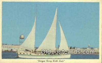 shi020375 - Ferry With Sails Sail Boat Postcard Post Card