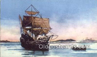 shi020376 - The Mayflower, Plymouth Harbor, Massachusetts, MA USA Sail Boat Postcard Post Card