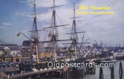 shi020427 - Old Ironsides, Boston, Massachusetts, MA USA Sail Boat Postcard Post Card