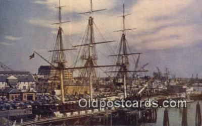 shi020439 - The Constitution Old Ironside, Boston, Massachusetts, MA USA Sail Boat Postcard Post Card