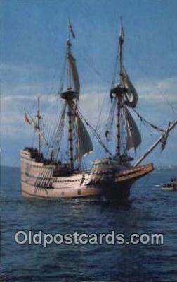 shi020502 - The Mayflower II, Plymouth, Massachusetts, MA USA Sail Boat Postcard Post Card