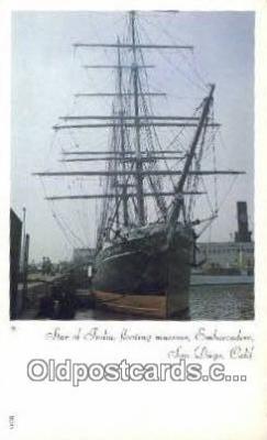shi020504 - The Star Of India, San Diego, California, CA USA Sail Boat Postcard Post Card