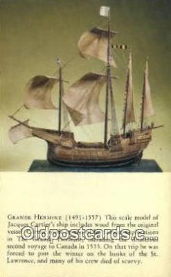shi020512 - Grande Hermine, St Lawrence Sail Boat Postcard Post Card