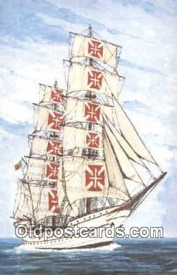 shi020522 - 268 Steel Bark Training Ship, Sagres, Portugal Sail Boat Postcard Post Card