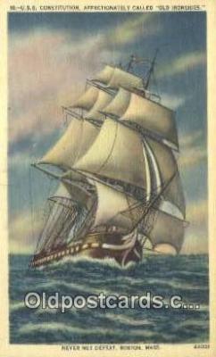 shi020529 - USS Constitution, Boston, Massachusetts, MA USA Sail Boat Postcard Post Card