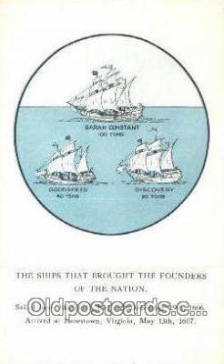 shi020547 - The Three Ships, Jamestown, Virginia, VA USA Sail Boat Postcard Post Card