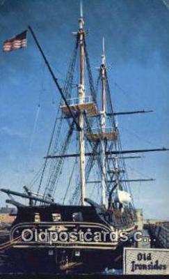 shi020551 - USS Constitution, Old Ironsides, Boston, Massachusetts, MA USA Sail Boat Postcard Post Card