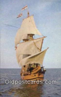 shi020558 - The Mayflower II, Plymouth, Massachusetts, MA USA Sail Boat Postcard Post Card