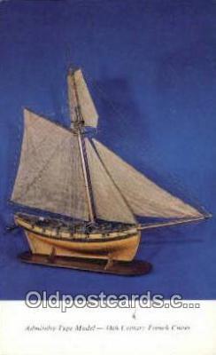 shi020598 - Peabody Museum, French Armed Cutter, Salem, Massachusetts, MA USA Sail Boat Postcard Post Card