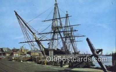 shi020614 - US Frigate Constitution, Old Ironsides, Boston, Massachusetts, MA USA Sail Boat Postcard Post Card