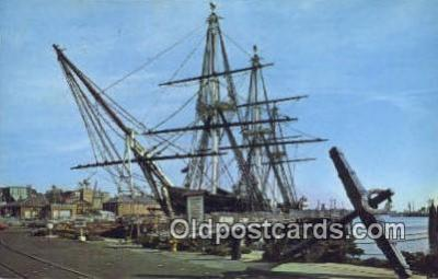 shi020619 - US Frigate Constitution, Old Ironsides, Boston, Massachusetts, MA USA Sail Boat Postcard Post Card