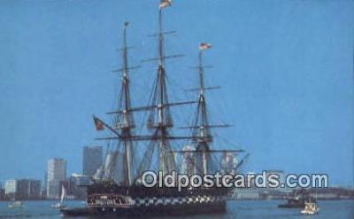 shi020628 - USS Constitution, Old Ironsides, Boston, Massachusetts, MA USA Sail Boat Postcard Post Card