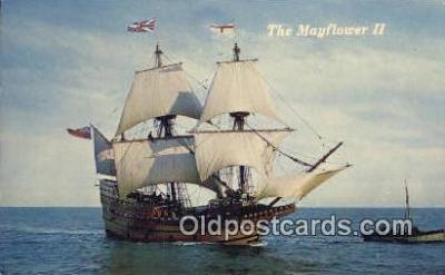 shi020668 - The Mayflower II, Plymouth, Massachusetts, MA USA Sail Boat Postcard Post Card