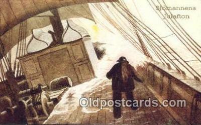 shi020675 - Sjomannens Julafton, Whitney Publishing Sail Boat Postcard Post Card