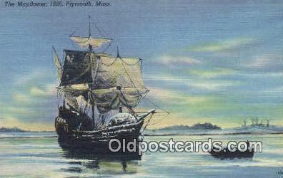 shi020683 - The Mayflower 1620, Plymouth, Massachusetts, MA USA Sail Boat Postcard Post Card