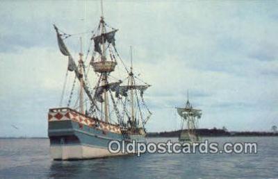 shi020691 - Godspeed And The Discovery, Jamestown , Virginia, VA USA Sail Boat Postcard Post Card