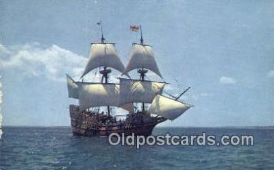 shi020694 - The Mayflower II, Plymouth, Massachusetts, MA USA Sail Boat Postcard Post Card