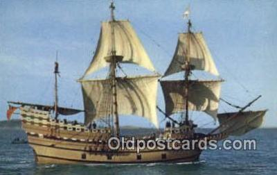 shi020696 - The Mayflower II, Plymouth, Massachusetts, MA USA Sail Boat Postcard Post Card