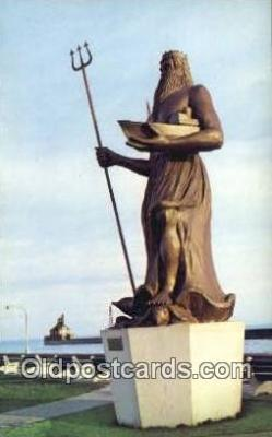 shi020703 - Neptune, Symbolic Ruler Of The Sea, Duluth, Michigan, MI USA Sail Boat Postcard Post Card