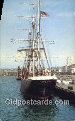 shi020706 - Star Of India Floating Museum, San Diego Bay, California, CA USA Sail Boat Postcard Post Card
