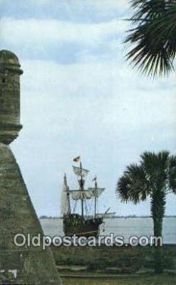 shi020711 - The Santa Maria, St Petersburg, Florida, FL USA Sail Boat Postcard Post Card